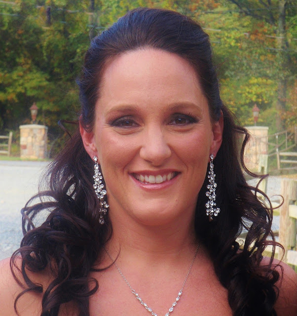 bride with long rhinestone earrings