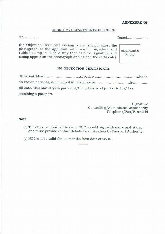 proforma of no objection certificate