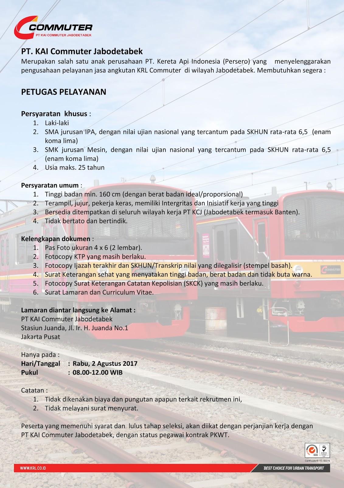 Lowongan Kerja PT KAI Commuter Jabodetabek Pendidikan Minimal SMA