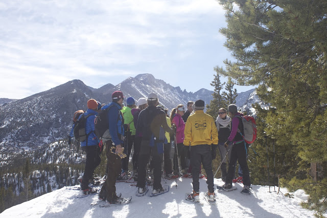 Group snowshoeing Rocky Mountain National Park
