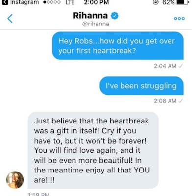 Rihanna gives fan advice on how to deal with heartbreak