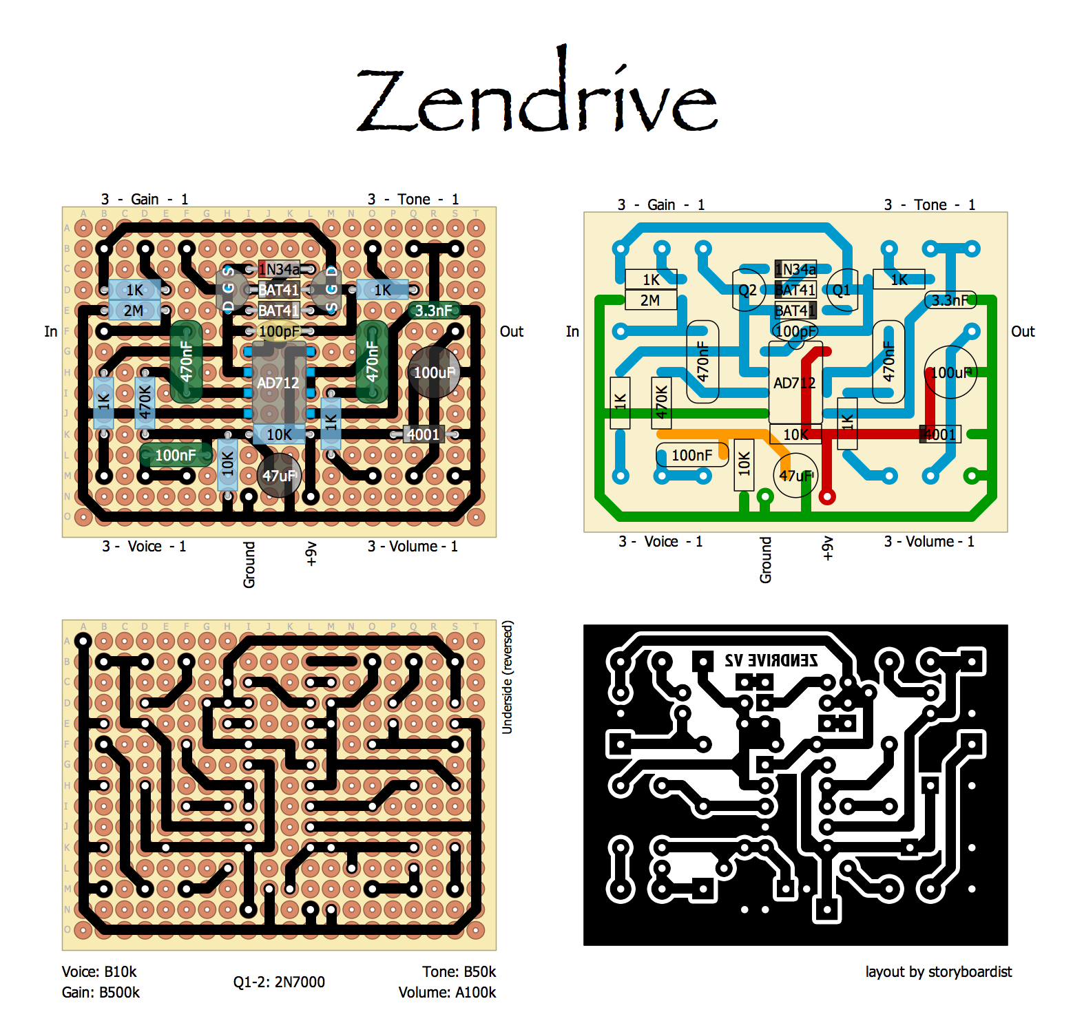 Perf and PCB Effects Layouts: pedal/Hermida Audio Zendrive Zendrive Schematic on