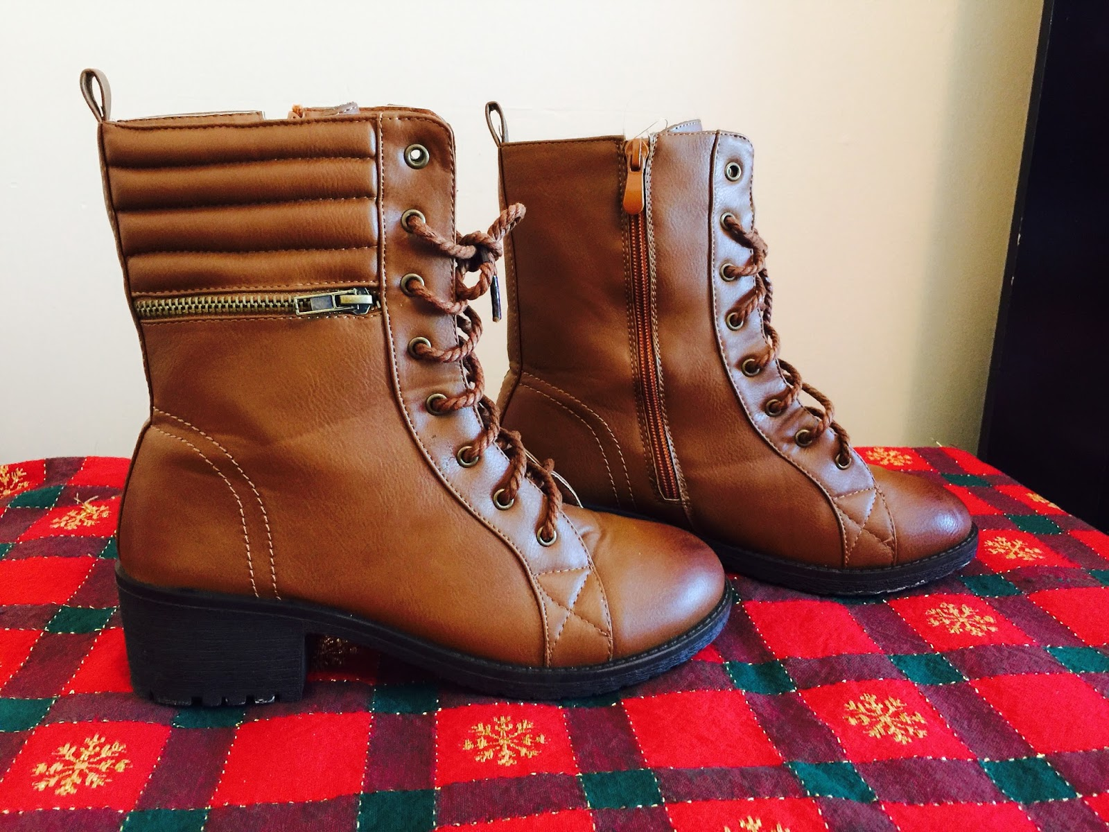 zooshoo shoes review, zooshoo, shoes, ankle boots review, ankle booties, booties, Casual Combat Lace up Moto Bootie with Cushion Cuff Zipper Boot