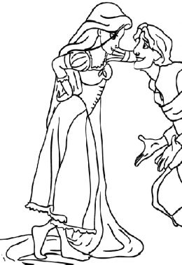 rapunzel and eugene coloring pages - Clip Art Library | 379x260