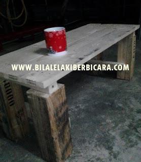 DIY-Cara buat coffee table guna kayu pallet, kayu pallet