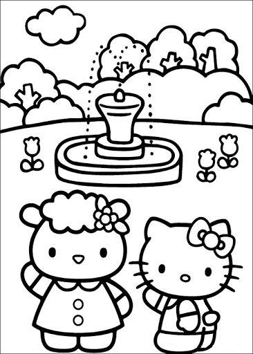 Tranh tô màu mèo hello kitty đi xem đài phun nước