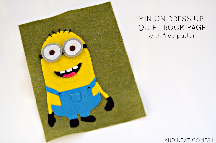 Minion dress up quiet book page with free printable pattern from And Next  Comes L 1fec98a37532