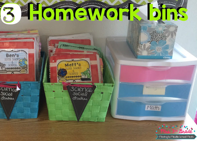 Having homework bins is a great way to keep the homework papers off of your desk.  Having different bins for different subjects also allows you to quickly go through papers to determine who is missing their work.