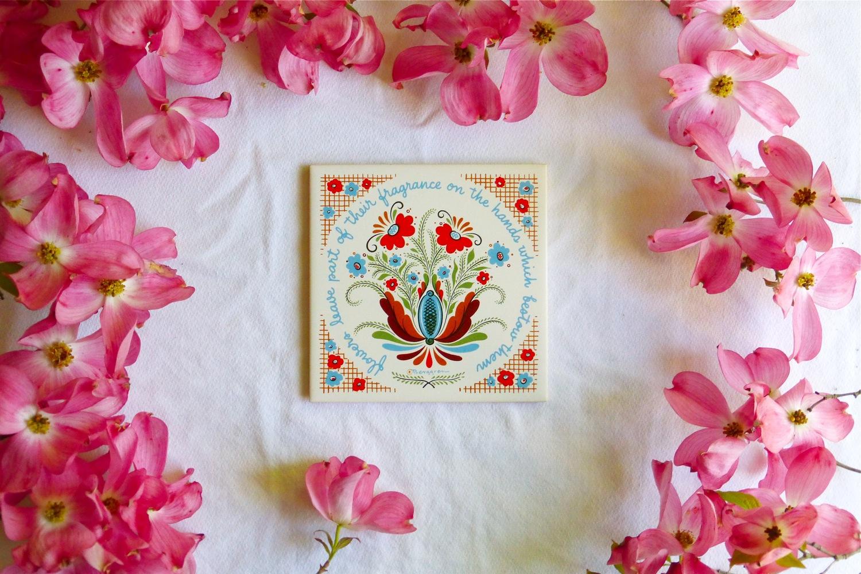 Berggren, vintage Berggren, Berggren Dalmalningar, vintage Dalmalningar, Swedish Dalmalningar, vintage Swedish Dalmalningar, vintage ceramic tile, vintage Swedish ceramic tile, vintage Berggren Swedish ceramic tile