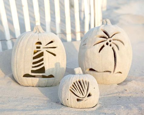 Carved Beach Sand Jack O Lantern Pumpkins