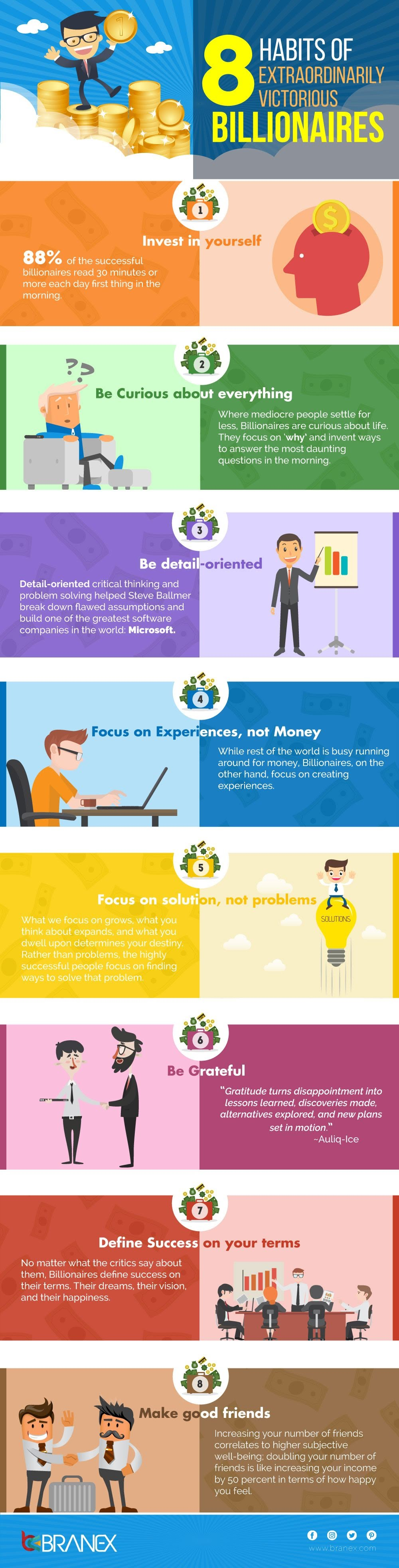 8 Habits of Extraordinarily Victorious Billionaires #Infographic
