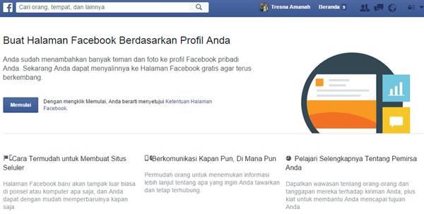 Cara membuat profil fb jadi halaman fanspage