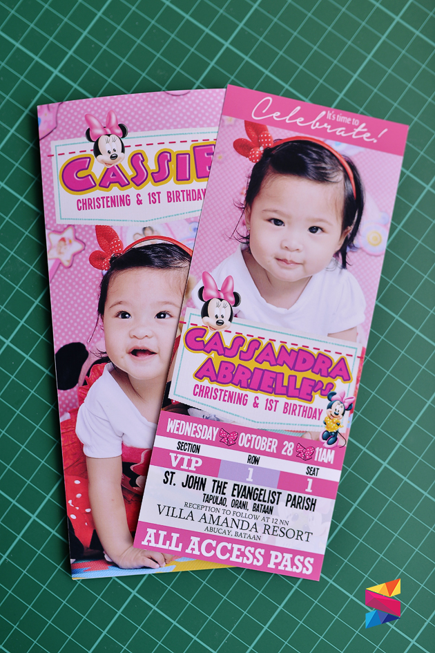 Cassie Minnie Mouse Ticket Style Invitation Stunro Creativeworks