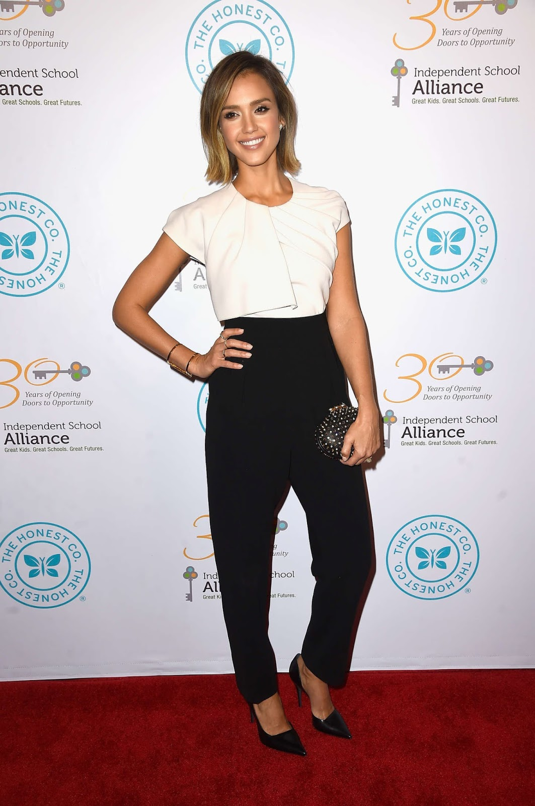 Jessica Alba flaunts a demure look at the Independent School Alliance Impact Awards Dinner in LA