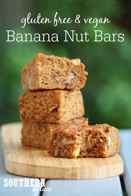 Easy Vegan Banana Nut Bars - gluten free, vegan, one bowl recipe, sugar free, egg free, dairy free, peanut free, low fat, healthy