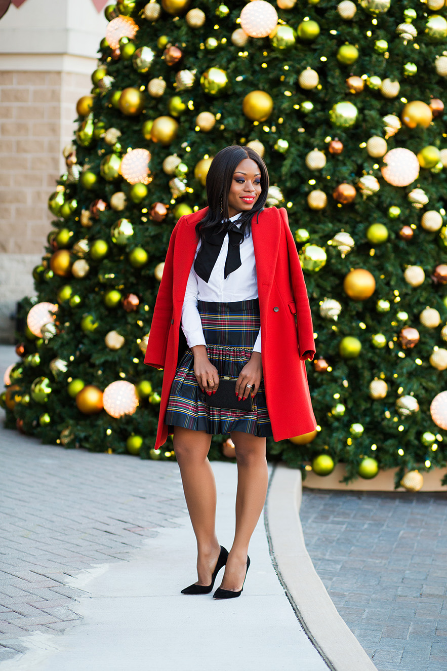 holiday style in plaid and bow, www.jadore-fashion.com