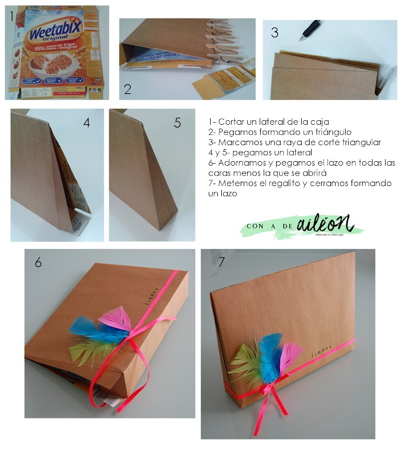 reciclar caja cereales cereal bar upcycle