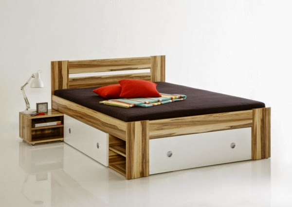 modern double bed with storage shelves and drawers