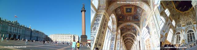 Viaje a Rusia: San Petersburgo: Plaza del Hermitage y dos interiores del museo