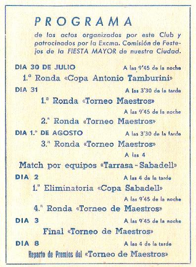 Programa de actos del II Torneo de Sabadell 1943