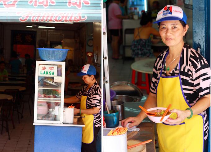 famous asam laksa on penang road across from komtar