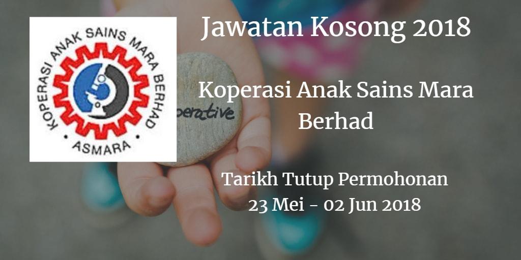 Jawatan Kosong Koperasi Anak Sains Mara Berhad 23 Mei - 02 Jun 2018