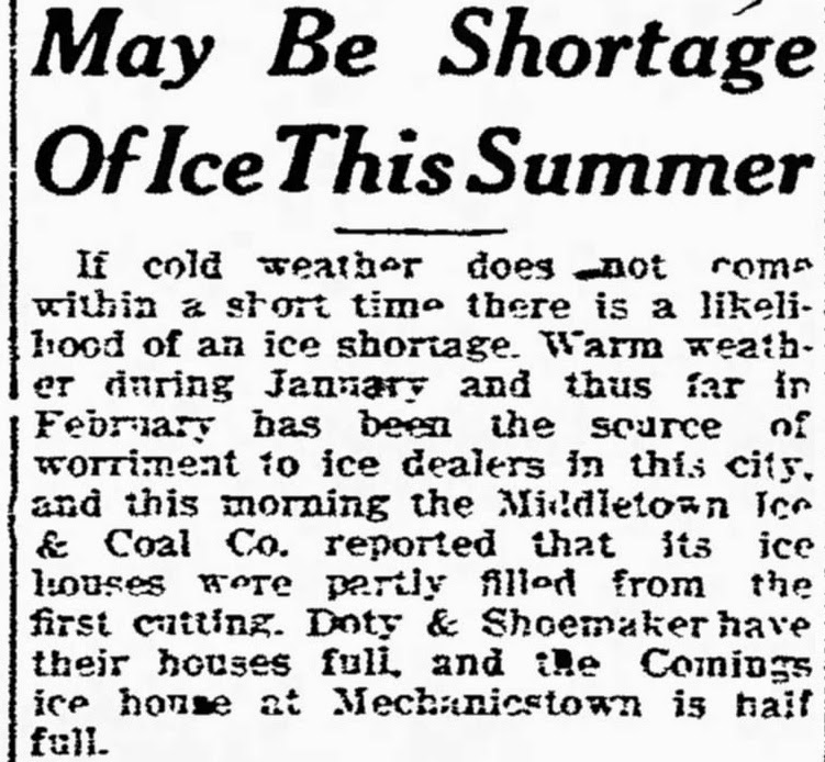 Middletown Times Press, February 15, 1919 edition May Be Shortage of Ice This Summer