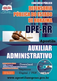 apostila concurso Defensoria RR Auxiliar Administrativo.