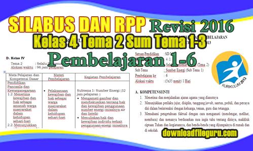 Silabus Dan RPP Kelas IV Tema 2 Sub Tema 1-3 Pembelajaran 1-6 Revisi 2016