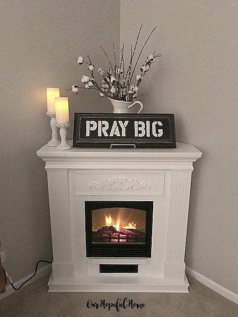 DIY cooton bolls Pray Big painted sign LED candles