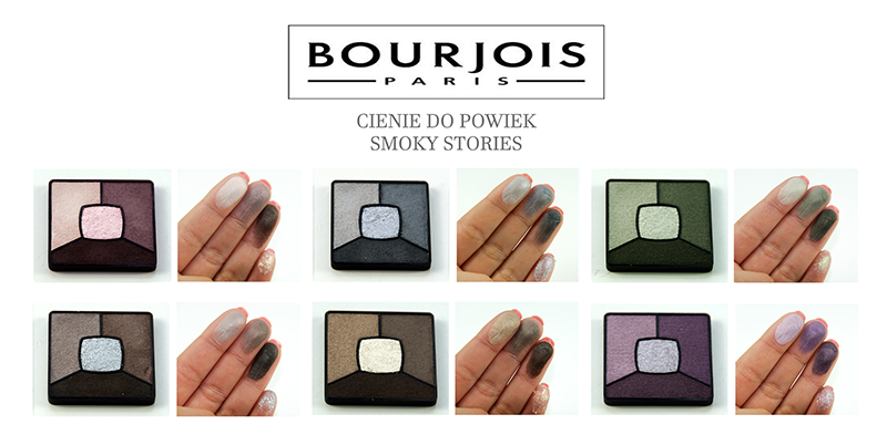bourjois, smoky stories, paleta cieni, 02 over rose, 03 I love blue, 04 rock this khaki, 05 good nude, 06 upside brown, 07 In mauve again