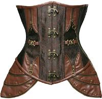0bff87c4f9 Brown Faux Leather Steel Boned Underbust Corset Amazon.com