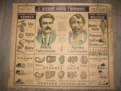 """Tableau du Docteur Galtier-Boissière : """"L'alcool, voilà l'ennemi !"""" avant 1900 (collection musée)"""