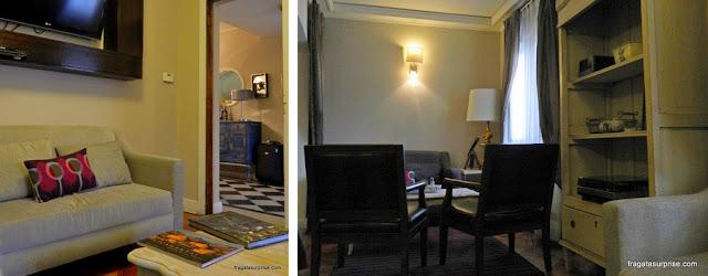 Sala de estar do Mito Casa Hotel, em Santiago do Chile