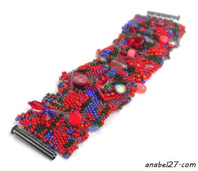 бисер фриформ браслет красный бохо стиль украшения анабель