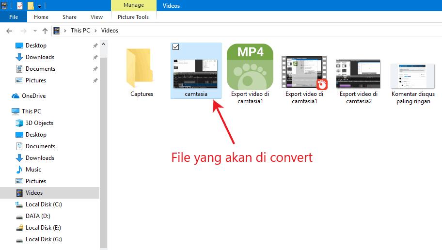 Contoh file yang akan di konversi