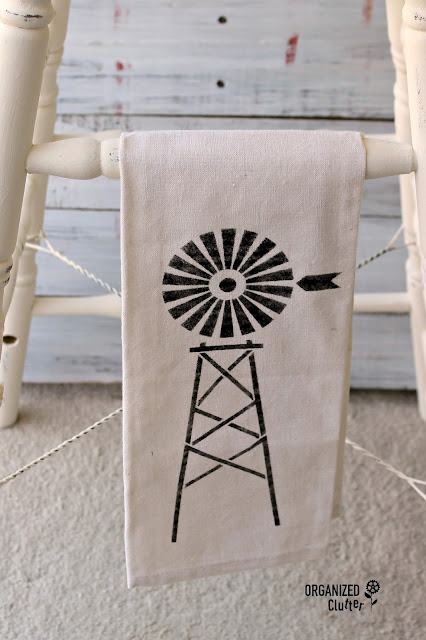 Hobby Lobby Tea Towel with Farmhouse Style Stencil