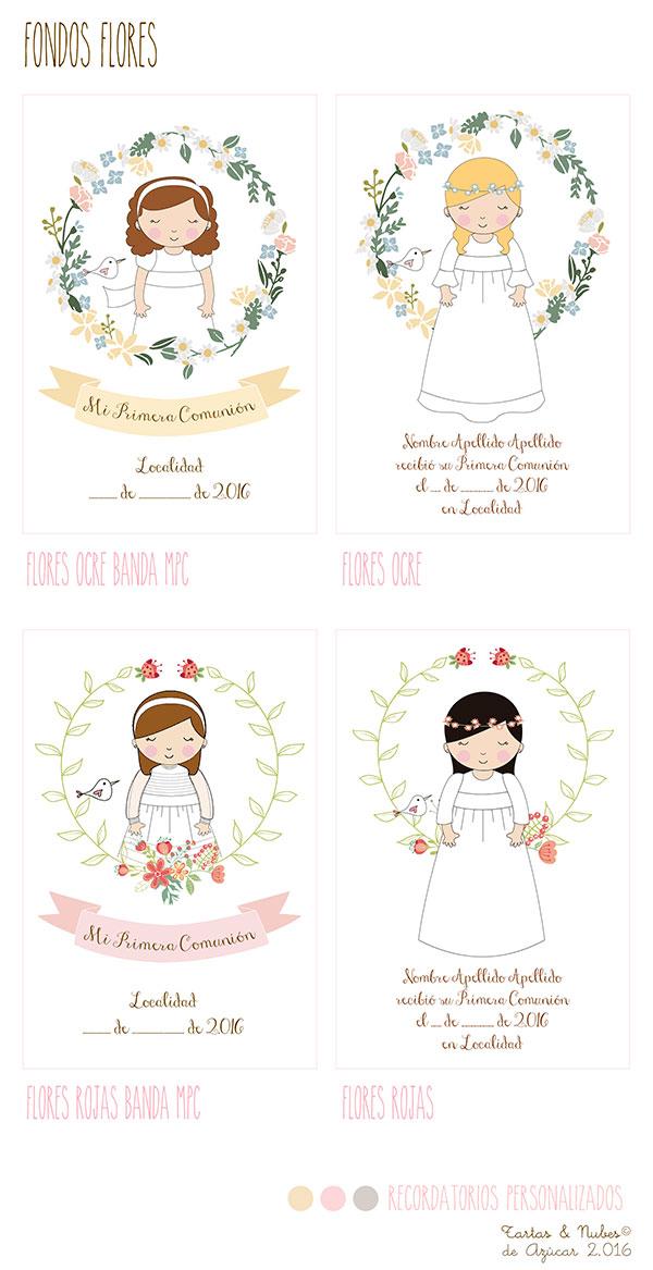 Recordatorios Comunión niña fondo flores