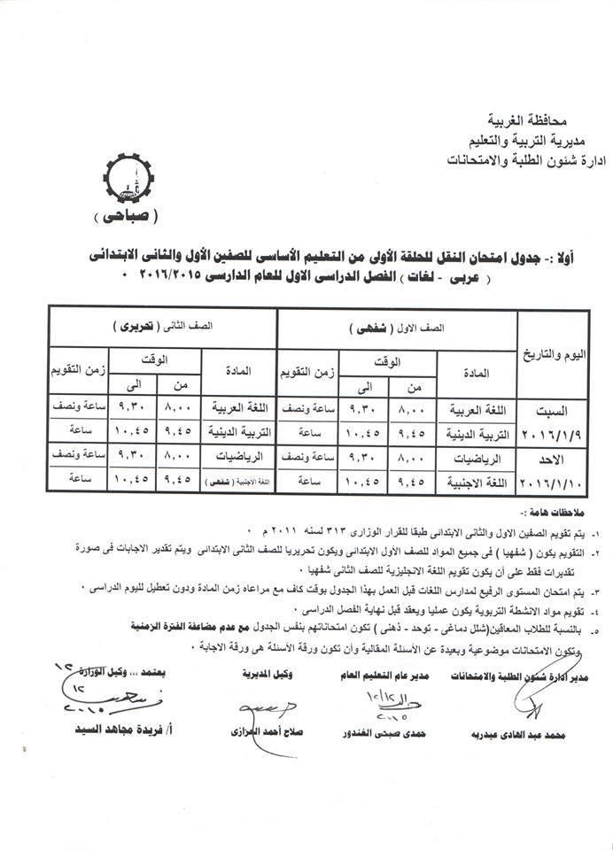 جدول إمتحانات الصف الاول والثانى الابتدائى الفصل الدراسي الأول