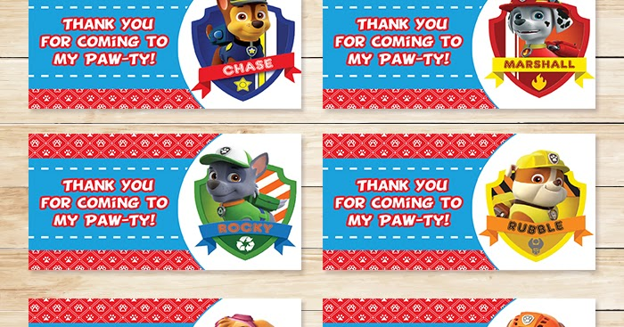 Free Printable Paw Patrol Goody Bag Tags Red Bg Theme