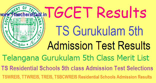 TGCET/ TS Gurukulam 5th Admission Test Results, Disrict wise Merit List 2017 @tgcet.cgg.gov.in