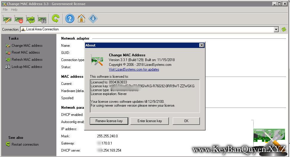 LizardSystems Change MAC Address 3.3.1 Build 129 Full Key, Phần mềm giúp bạn thay đổi và giả mạo địa chỉ MAC