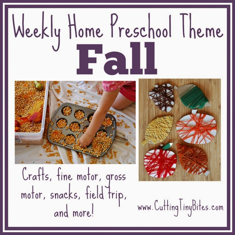 Fall Theme Preschool- crafts, fine motor, gross motor, snacks, field trip, sensory bin, and more! Perfect amount of activities for one week of EASY homeschool pre-k.