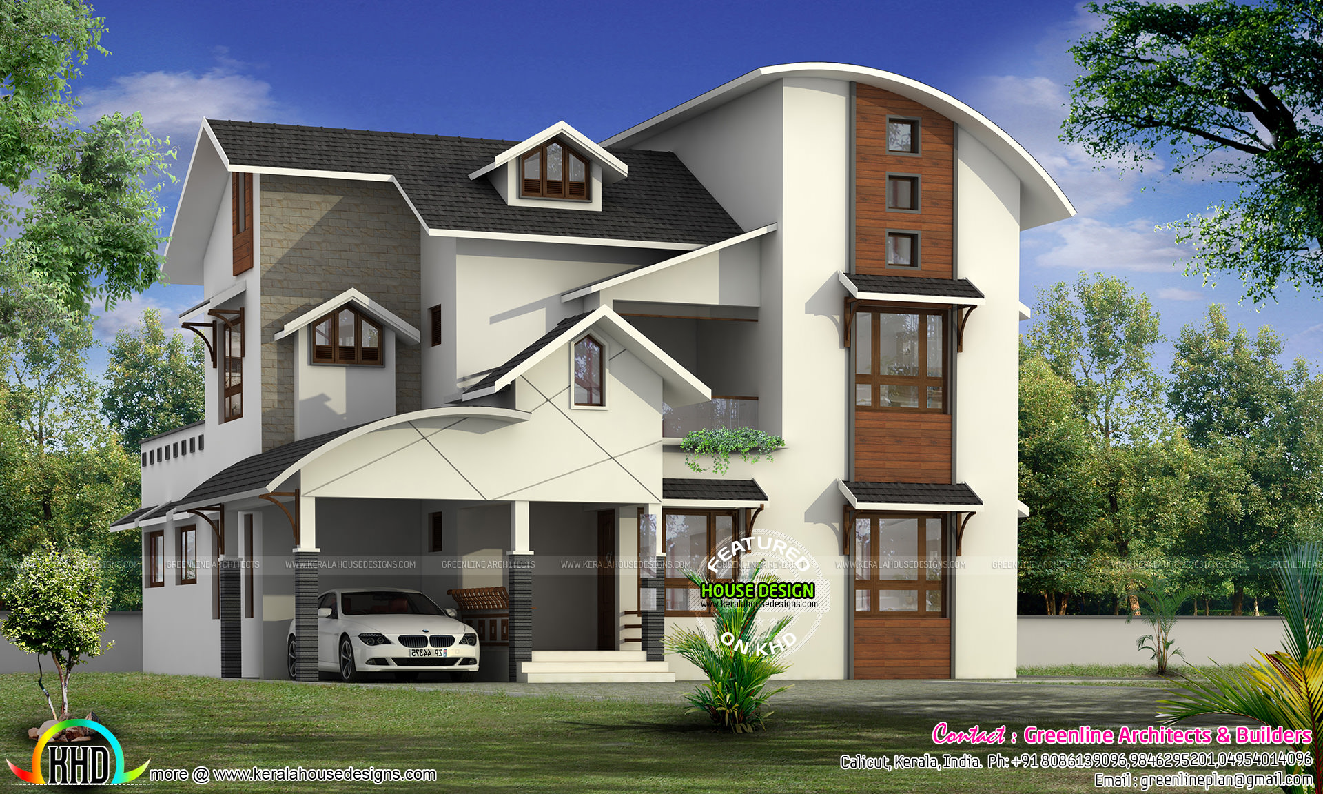 Modern mixed roof house in 2479 square feet kerala home for Curved roof house plans