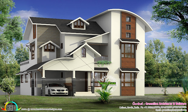 Modern House with Curved Roof Design