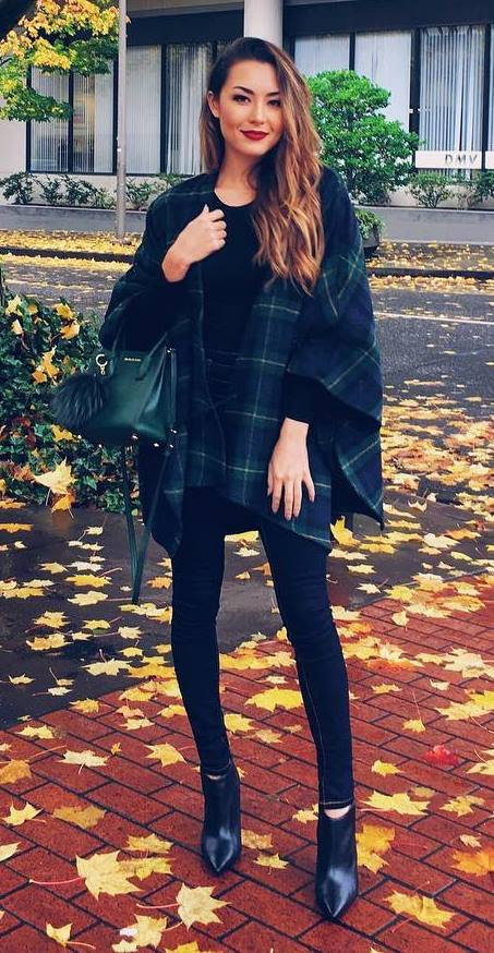 the perfect plaid cape for a cold, wet day
