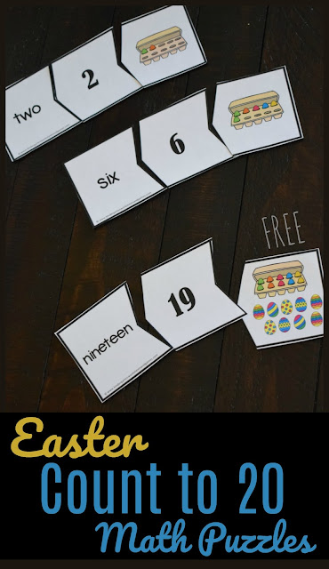 FREE Easter Count to 20 Math Puzzles - this is such a fun, hands on math activity to help preschool and kindergarten age kid practice counting to 20, number names and more in a math center, extra practice or at home.