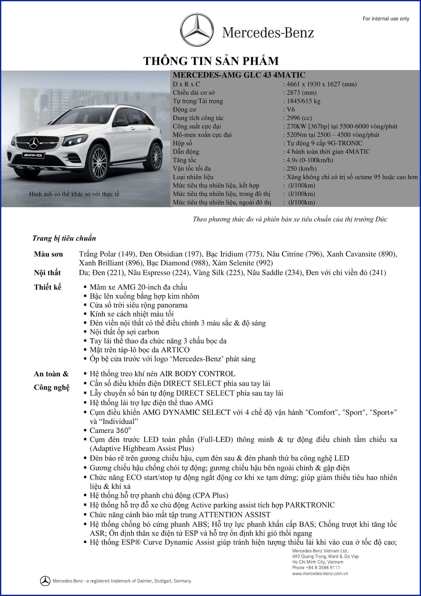Bảng thông số kỹ thuật Mercedes AMG GLC 43 4MATIC 2017 tại Mercedes Trường Chinh