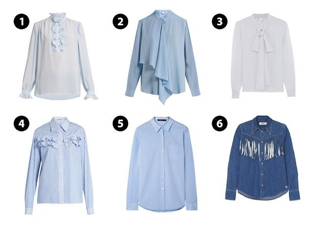 Голубые блузки с различными деталями