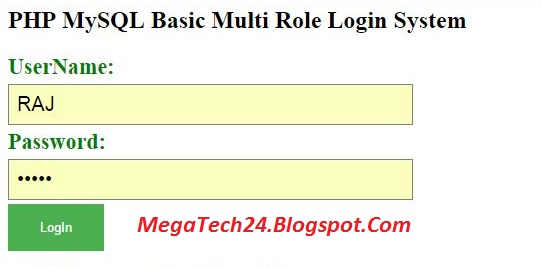 multi user role based login in php with mysql
